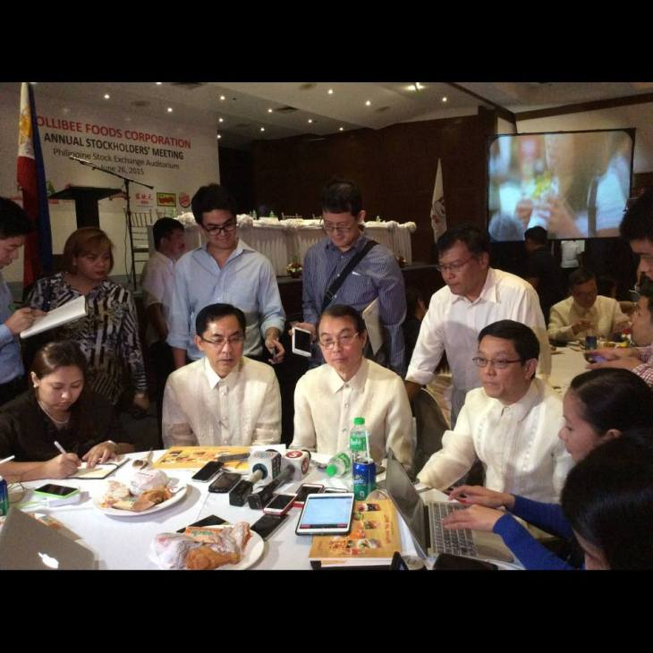 Jolibee Foods Corp Tony Tan Caktiong (Board Chair) , Ernesto Tanmantiong (CEO) Ysmael Baysa (CFO) Meet the Press at the Annual Stockholders Meeting.
