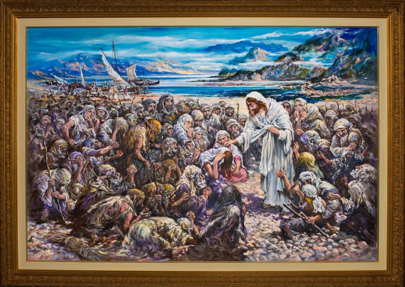 JESUS OF NAZARETH WENT ABOUT DOING GOOD This is my uncle Teodorico Cumagun, Jr.'s entry to the contest TELL ME THE STORIES OF JESUS. Requesting friends and the general public to PLEASE VOTE for TEODORICO CUMAGUN, JR.'s painting by CLICKING ON THIS LINK AND VOTE <a href=