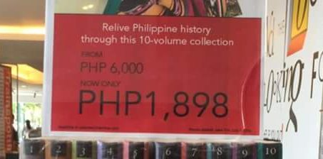 "Fullybooked stores proposes to ""relive Philippine history"" by owning a 10-volume book collection at a big discount — Kasaysayan: The Story of the Filipino People [Asia Publishing: 1998 / set of 10 books]. Original price is PHP6K, now selling at PHP1,898 (42 US$) in all of Fullybooked stores. Promo period ends on July 3, 2016. Call your favorite Fullybooked stores for a reservation."